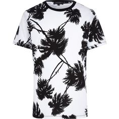 River Island White palm tree print t-shirt ($12) ❤ liked on Polyvore featuring mens, men's clothing, men's shirts, men's t-shirts, shirts, tees, tops and sale