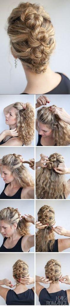 trenza recogida en cabello rizado Everyday Hairstyles, Up Hairstyles, Pretty Hairstyles, French Hairstyles, Naturally Curly Hairstyles, Long Curly Hairstyles, Hairstyles For Nurses, Classic Hairstyles, Wedding Hairstyles