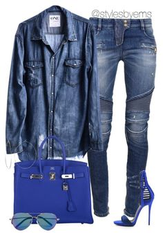 """Untitled #374"" by emsdash ❤ liked on Polyvore featuring Balmain, Hermès, Giuseppe Zanotti, Phyllis + Rosie and Matthew Williamson Denim On Denim Style, Matthew Williamson, Passion For Fashion, Love Fashion, Womens Fashion, Stylish Outfits, Fashion Killa, Fashion Trends, Giuseppe Zanotti"