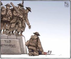My Heart Just Broke …… From Twitchy: Yesterday, reservist Nathan Cirillo was murdered while guarding Canada's National War Memorial. Today, Halifax Chronicle-Herald cartoonist Bruce MacKinnon paid tribute to Cirillo — in an absolutely gorgeous way. Canadian Soldiers, Canadian Army, Canadian History, Fallen Soldiers, Canadian Bacon, Unknown Soldier, Remembrance Day, Image Of The Day, Political Cartoons