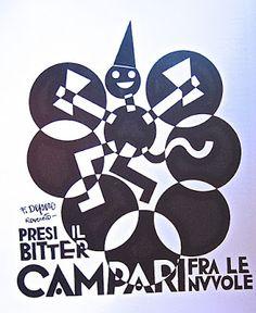 """Bitter Campari - Fortunato Depero """"Presi il Bitter Campari tra le nuvole"""" - Inchiostro di china su carta - 1928"""