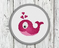 Valentine's Day Cross Stitch Pattern Love Whale by CrossStitchShop, $3.00