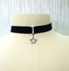 Cubic Star Black velvet choker necklace Women choker necklace with adjustable chain / Size S,M,L. $22.95, via Etsy.