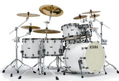 Tama Starclassic Maple Drums: Piano White Like the cymbal extension hardware.