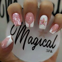 Square Nail Designs, Short Nail Designs, Nail Art Designs, Manicure Nail Designs, Nail Manicure, Gel Nails, Orange Nails, Pink Nails, Witch Nails