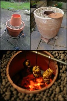 Make an Indian tandoor oven from flower pots.  http://diyprojects.ideas2live4.com/2015/09/02/make-a-real-indian-tandoor-oven-out-of-terracotta-flower-pots/  Do you love tandoori chicken? How about real - and we mean REAL naan breads? Then here's a simple DIY project using terracotta flower pots that you might just want to have in your backyard!  Now start gathering the needed materials and get cooking some really delicious, genuine Indian favourites!