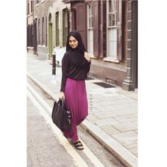 Black Maxi Jersey Hijab + Black Crepe Top + Berry Maxi Skirt | INAYAH www.inayahcollection.com