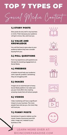 Types Of Social Media, Social Media Content, Social Media Tips, Social Media Calendar, Social Media Marketing Business, Content Marketing, Instagram Marketing Tips, Coaching, Marketing Digital
