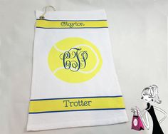 Monogrammed Tennis Towel Personalized Tennis by onesassysister