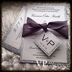 Invitación de la boda de plata plata brillo por VPElegance en Etsy