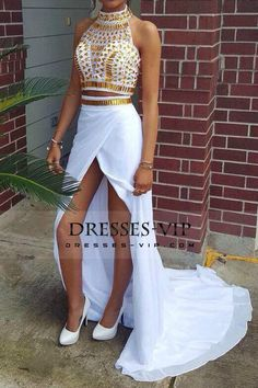 2016 Two-Piece Prom Dresses High Neck With Beading Chiffon