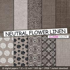 Flower linen paper: NEUTRAL FLOWER LINEN with floral by ClaireTALE