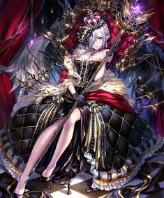 Long live the anime queen with her divine black and white dress and royal scepter. Art Anime, Anime Artwork, Anime Art Girl, Manga Girl, Manga Anime, Gothic Anime, Anime Angel, Dark Fantasy Art, Fantasy Girl