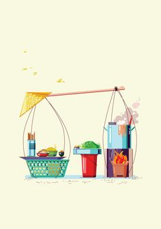[Illustrations] Local Illustrators Bring Saigon's Street Carts to Life - Saigoneer Stock Design, Indian Illustration, Street Vendor, Thai Art, Vietnamese Recipes, Vietnamese Food, Parasol, Food Drawing, Photo Quotes