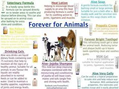 Forever Living for Animals. My TB ex racer gets 40ml of forever freedom every day to support his joints, immune system, digestive system and to keep his coat & skin healthy. I also use the propolis cream and gelly on any cuts and grazes along with the vet formula. And i will also be using the jojoba shampoo when its bath time :) I love that these products are so natural. For more info email aloe4u-sboyd@flp.com