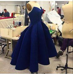 Simple dark blue short ball gown prom dress for teens, dark blue bridesmaid dress, women dress