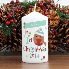 82e0d1fa46a89 Personalised Felt Stitch Robin My First Christmas Candle, This Christmas  Robin candle is the perfect gift for a loved one this Xmas from Creative  Gifts uk.