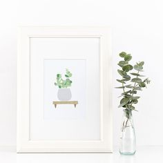 Succulent illustration, home decore. For those who are not so good with plants and will let die even cactus (like me), I bring a solution. Add color and freshness to your home decoration with these plant art prints.  They are printable so you can hang them on your wall once you click the checkout button. Have your own urban jungle, no water required.