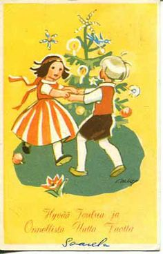 Vintage Christmas Card by Martta Wendilin ~ Orange Accents