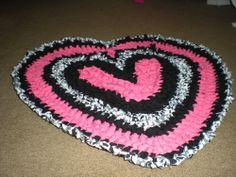 Crocheted Heart Rag Rug