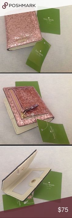 Kate Spade Glitter Bug Stacy Wallet NWT Small Kate Spade glitter bug Stacy wallet in rose gold. 🚫NO TRADES🚫 Price firm. kate spade Bags Wallets
