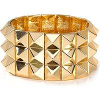 nOir Gold or Rhodium-Plated Brass Triple Row Pyramid Stretch Bracelet$120More details
