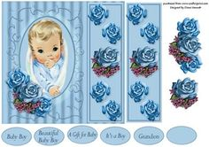Baby Boy Topper on Craftsuprint designed by Diane Hannah - Baby Boy Topper with bookmark and decoupage. - Now available for download!