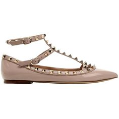 Valentino Women Rockstud Patent Leather Flats (£685) ❤ liked on Polyvore featuring shoes, flats, valentino shoes, studded flat shoes, flat pumps, patent shoes and flat patent leather shoes