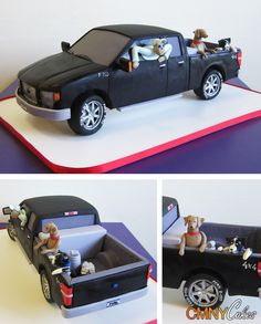 just take away the guy & dogs... Black Ford F-150 Pickup Truck Cake, CMNY Cakes