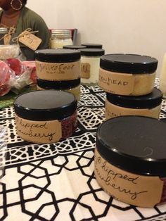 """These are some of Honey Bath and Body""""s sugar scrubs we offer. Whipped Strawberry/ Mojito/ and Lemon Head.  They contain cane sugar and essential oils. enjoy"""