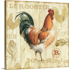 New 'Joli Rooster I' by Lisa Audit Vintage Advertisement by Great Big Canvas Wall Art Decor. offers on top store Abstract Canvas, Canvas Artwork, Framed Artwork, Canvas Prints, Framed Prints, Art Prints, Wall Art, Big Canvas, Canvas Size