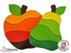 Wooden Puzzle Set Apple & Pear for toddlers by MiAnKa on Etsy