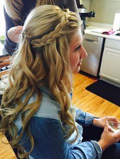 Long hair, braided updo, half up half down