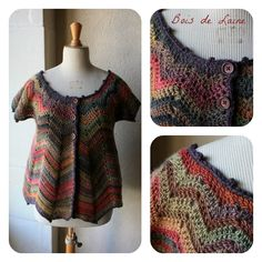 crochet chevron cardigan, not english, inspiration only, top down construction