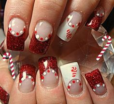 Glitter nails in Christmas theme