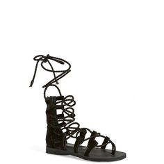 Jeffrey Campbell 'Hola' Lace-Up Gladiator Sandal ($69) ❤ liked on Polyvore featuring shoes, sandals, sapatos, flats, black, lace up flats, leather sandals, black ankle strap sandals, lace up sandals and black sandals