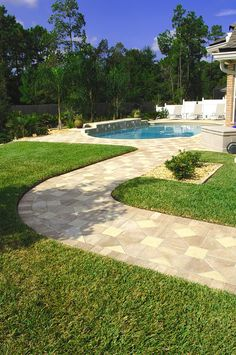 Many different geometric patterns can be created with Bishop Hat and Park Plaza. Paver Walkway, Brick Pavers, Hardscape Design, Tampa Florida, Geometric Patterns, Pathways, Orlando, Outdoor Living, Orlando Florida