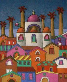 Xavier Portilla; mooie aanvulling op eerder gepind tekenlesidee; de stad Bethlehem