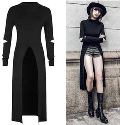 Punk Dress, Tee Dress, Slit Dress, Mode Outfits, Fashion Outfits, Womens Fashion, Fashion Tips, Fashion Ideas, Fashion Clothes
