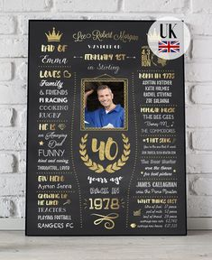 40th Birthday Sign Uk Version Gift 1979 United Kingdom Custom Chalkboard Poster Decorations Men Women