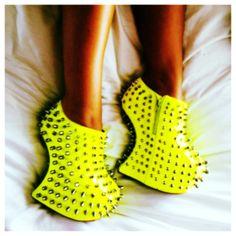 shoes neon high heels platform high heels studs spikes yellow #prom yellow heels