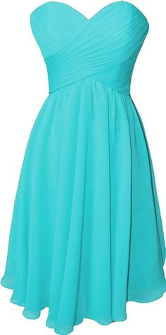 OkayBridal Women's Strapless sweetheart chiffon pleat short bridesmaid dress (2, Turquoise)