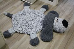 Soft Puppy Dog rug Sleeping bear for children. Сrochet circle gray mat in the nursery. For gift on Baby Shower, Birthday Shaun The Sheep, Knit Rug, Crochet Rugs, Peacock Crochet, Crochet Patterns, Sheep Rug, Nursery Area Rug, Animal Rug, Photo Prop