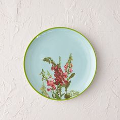 """Topped with a hand-drawn illustration from artist and antiques expert Jill Fenichell, this vintage-inspired melamine plate is perfect for picnics and outdoor gatherings.- Melamine- Dishwasher safe- Do not microwave or expose to high heat- Imported0.8""""H, 9"""" diameter"""