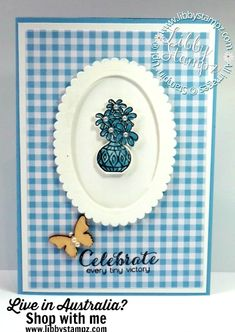 For this project I used:  Vibrant Vases Photopolymer Stamp Set Vases Builder Punch Butterfly Elements Pearl Basic Jewels Layering Ovals Framelits Dies Gingham Gala 6″ X 6″ (15.2 X 15.2 Cm) Designer Series Paper