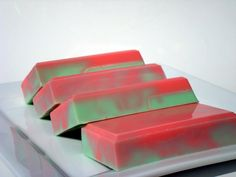 NEW! https://www.etsy.com/listing/128536238/strawberry-kiwi-soap-green-and-pink-soap by HoookedSoap, $5.00