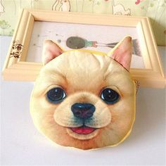 3D girl wallet bag ladies mini cat face zipper coin purses dog children's purse plush bolsa de moeda coins pouch monedero gato