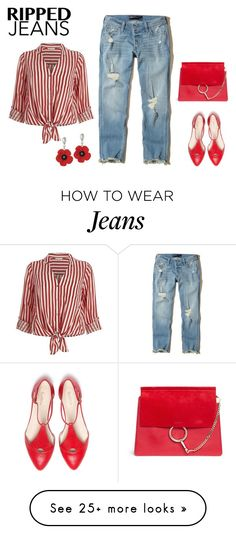 """""""Ripped Jeans"""" by sjlew on Polyvore featuring Hollister Co., River Island and Chloé"""