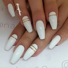 you should stay updated with latest nail art designs, nail colors, acrylic nails, coffin… - long nails White Coffin Nails, White Acrylic Nails, White Nail Art, Stiletto Nails, White Nails With Gold, White Nails With Design, Long White Nails, White Almond Nails, Matte White Nails