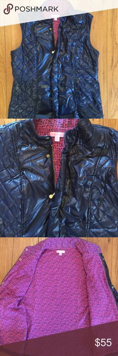 🌺LILLY PULITZER Vest🌺 🌺Lilly Pulitzer...Navy Vest..Very Nice Condition..Navy Color with a beautiful Pink/Navy print (Lilly Pulitzer) inside..Gold zip Front and Gold snaps..Front hand pockets..Size Medium 🌺Shell 100% polyester, Lining 100% cotton Lilly Pulitzer Jackets & Coats Vests